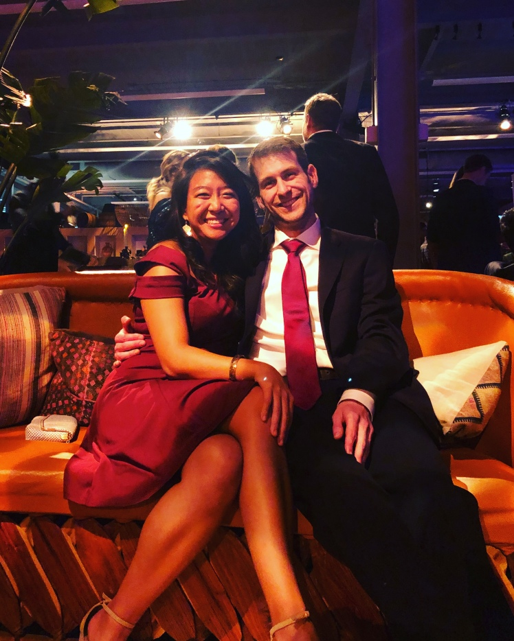 Couple at holiday party
