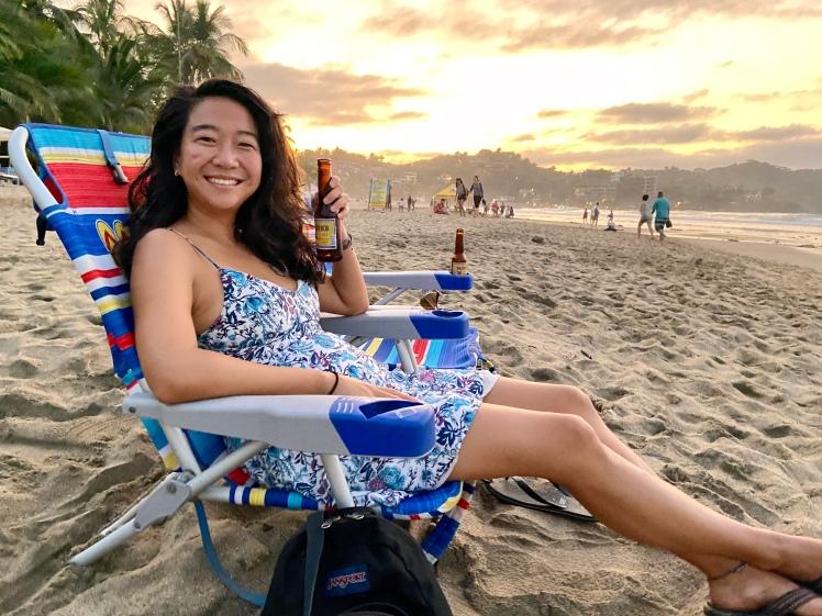 Beach sunset beer