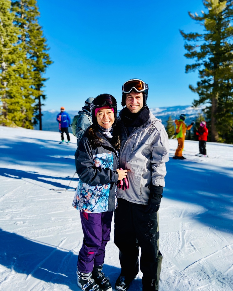 Couple skiing in love
