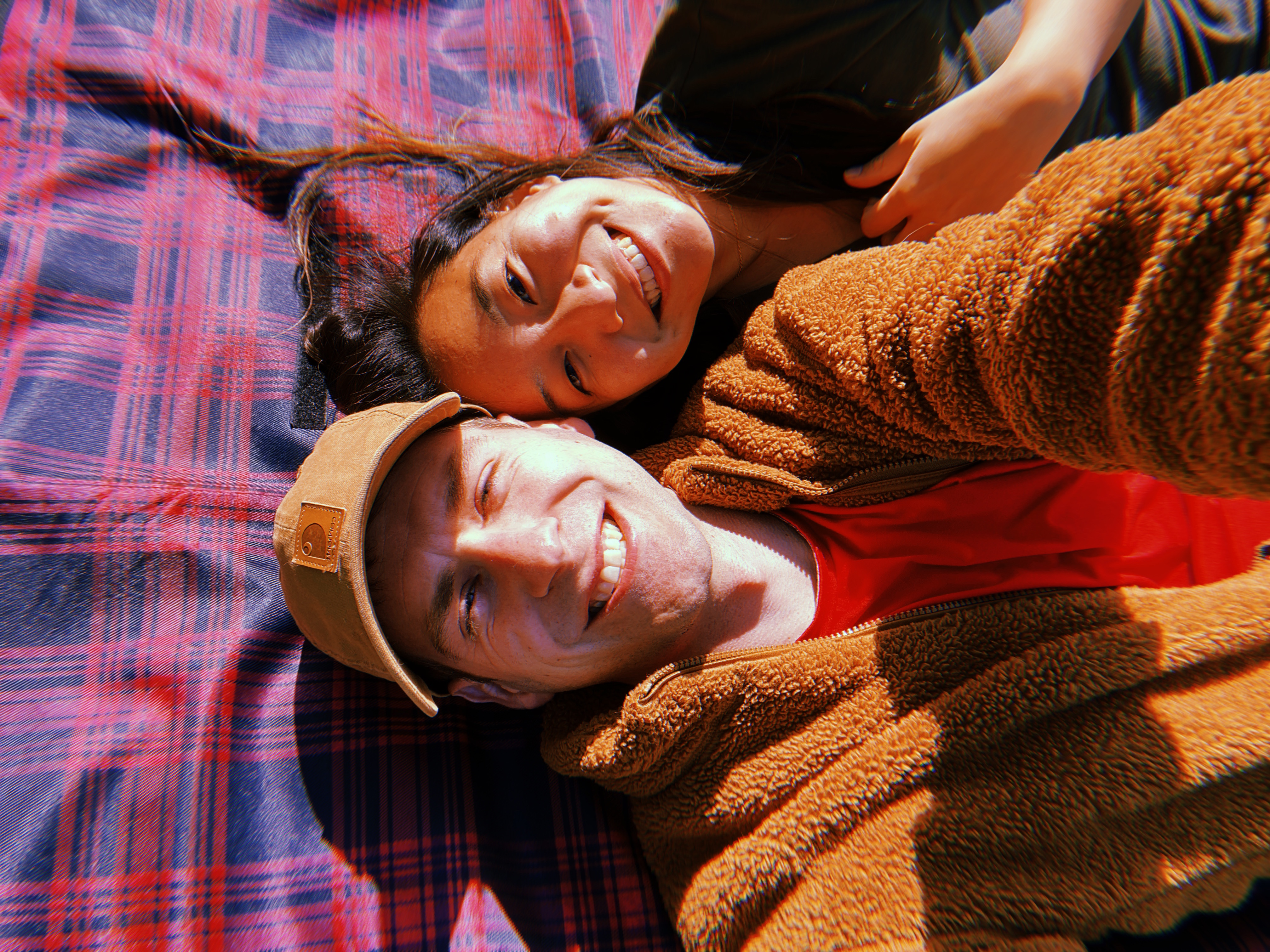 Couple on picnic blanket
