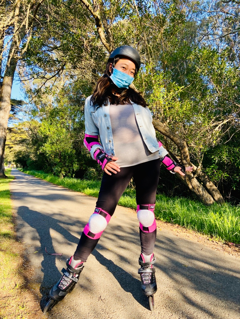 Roller blading with face mask
