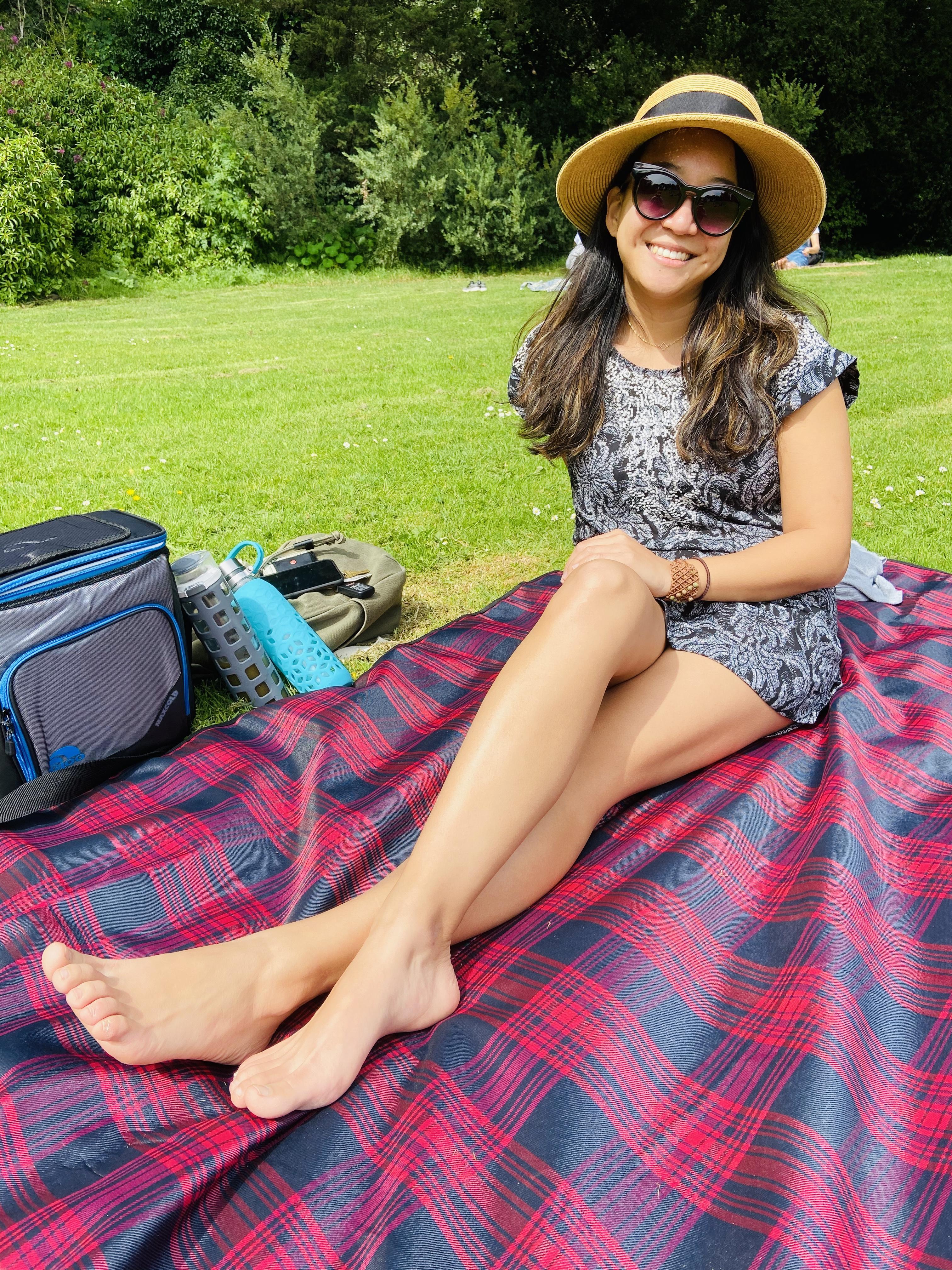 Girl on picnic blanket Golden Gate Park