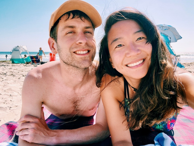 Couple chilling in San Diego beach