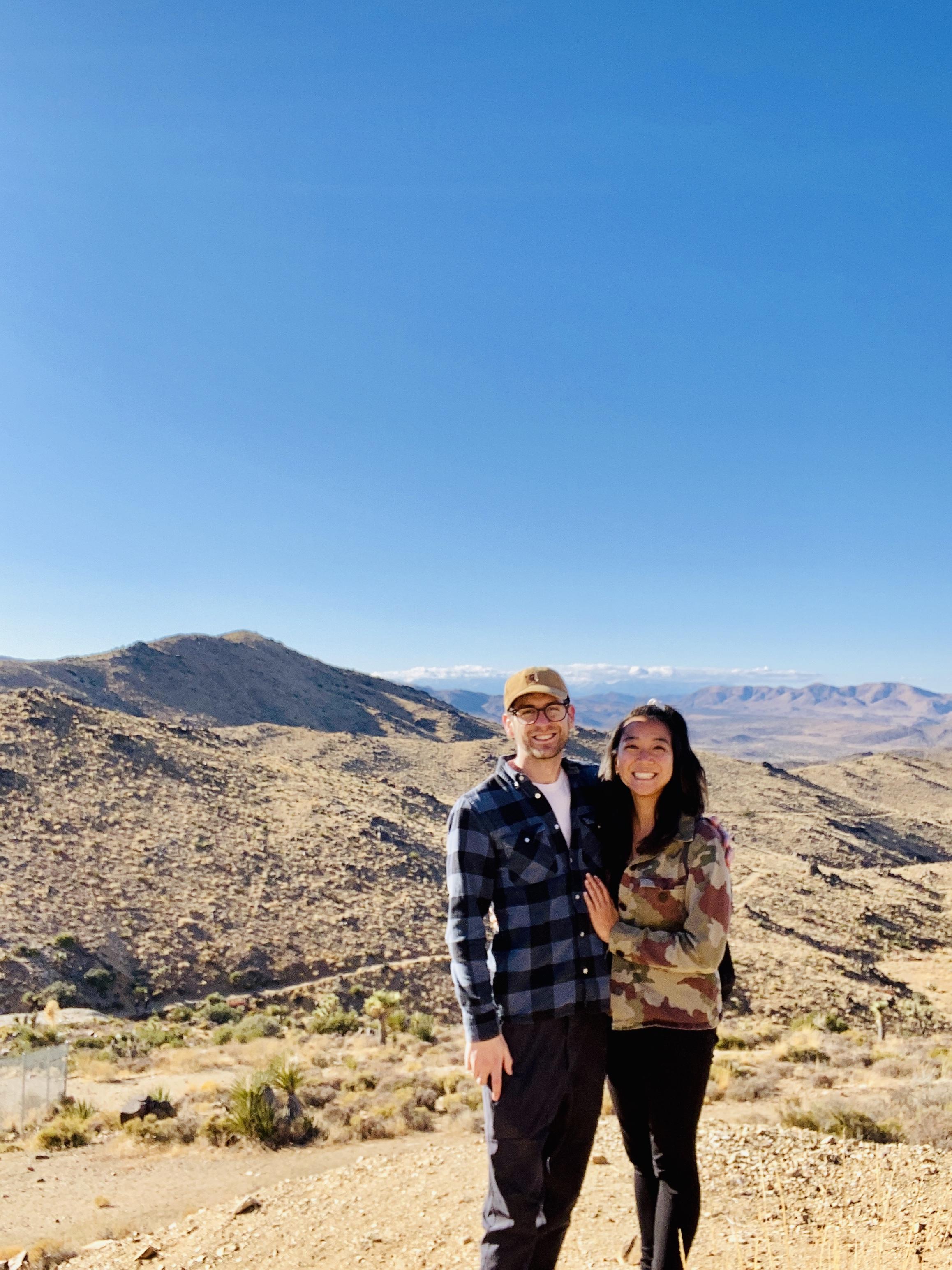 adventurous couple hiking