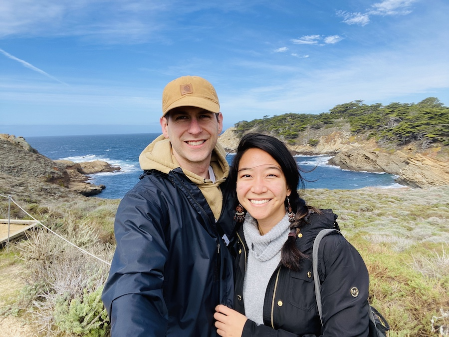 Couple selfie at Point Lobos State Reserve