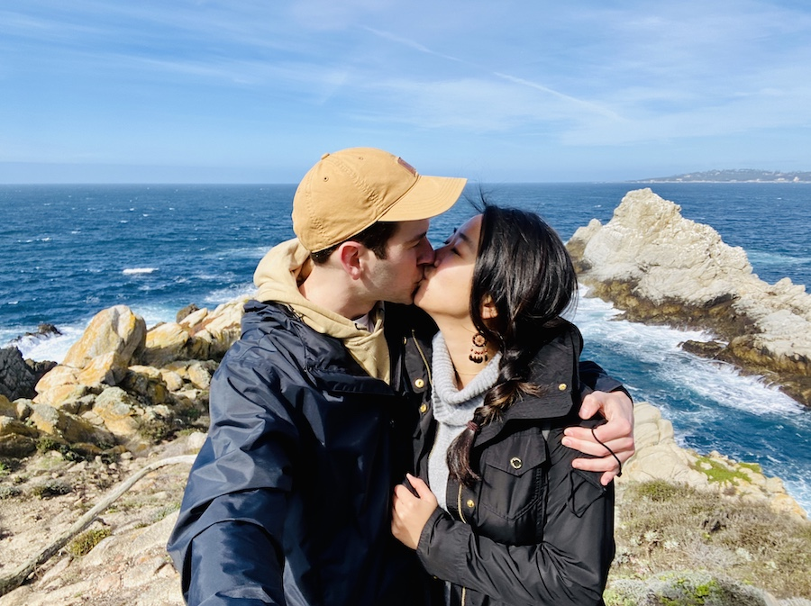 Couple kissing on hiking trail on Valentine's Day