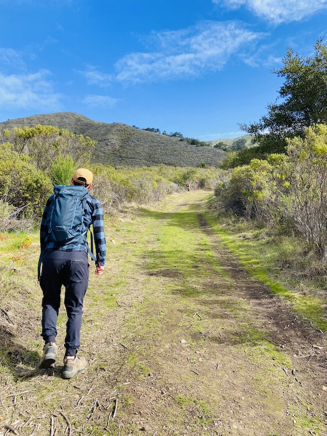 Hiking up inland mountain in Andrew Molera State Park