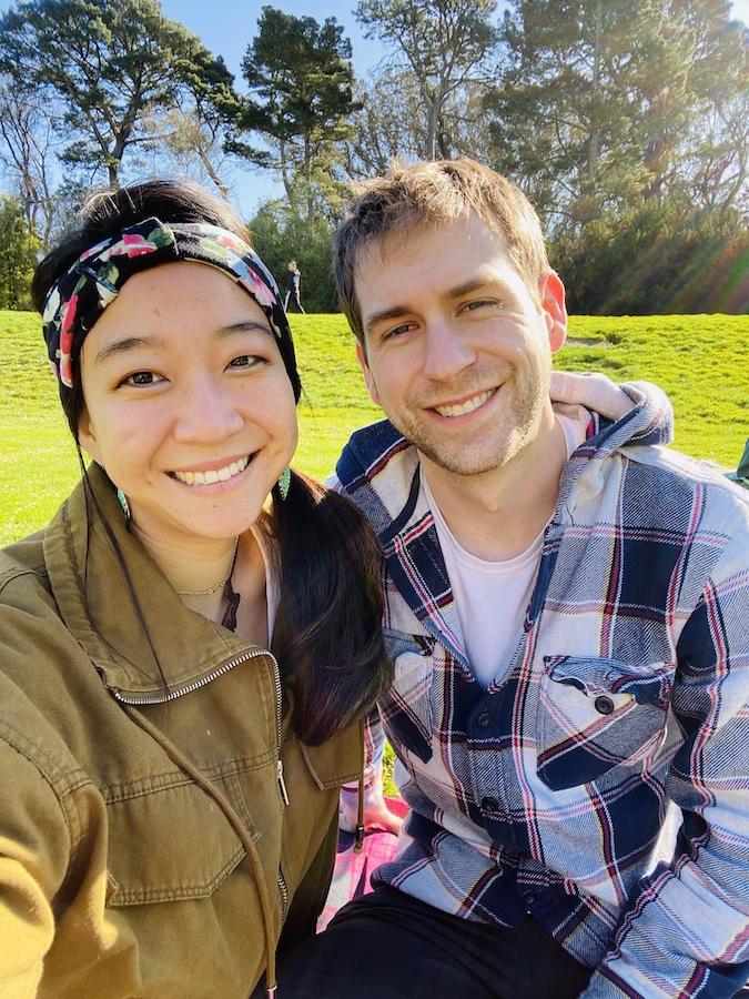 Selfie in golden gate park winter picnic