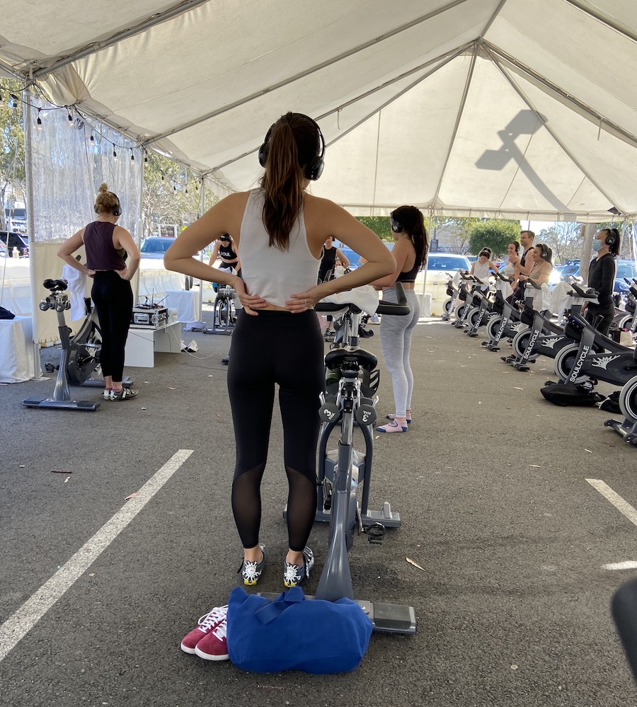 Outdoor spin class during covid in Marin
