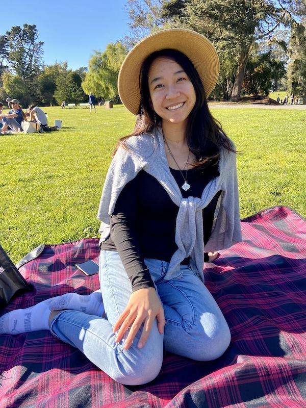 Chilling on picnic blanket