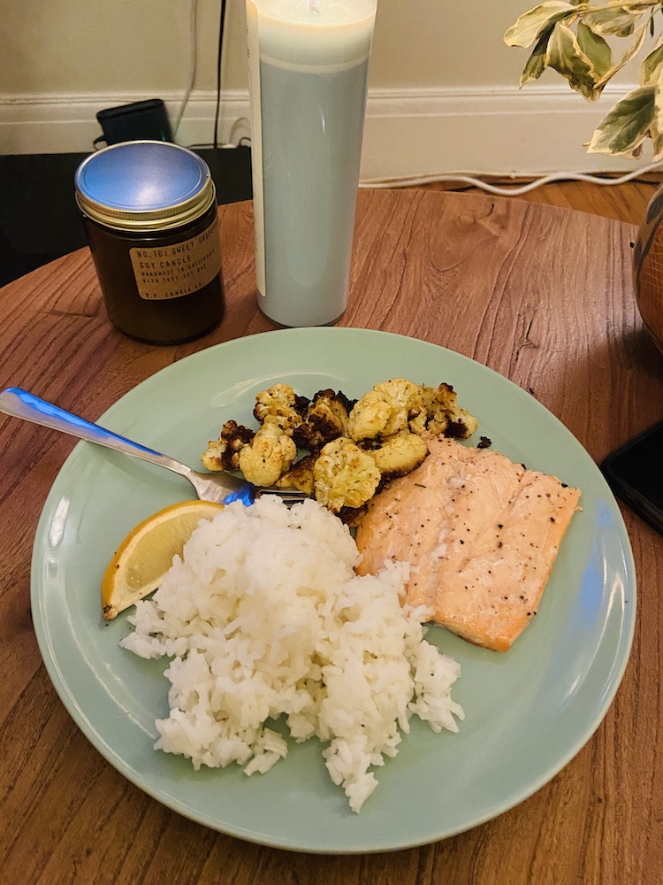 Homemade salmon, rice, and cauliflower dinner