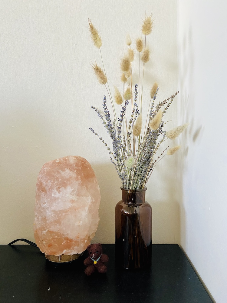 Bunny tails and dried lavender in apothecary vase