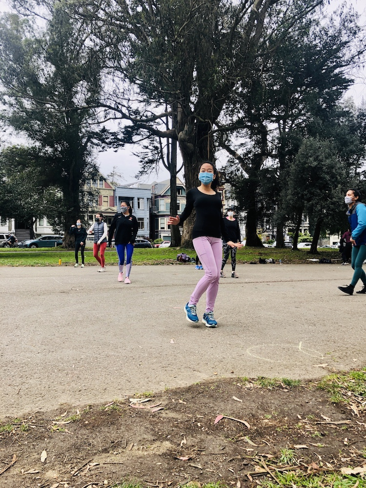 Hip hop dance class outdoors in the Panhandle SF