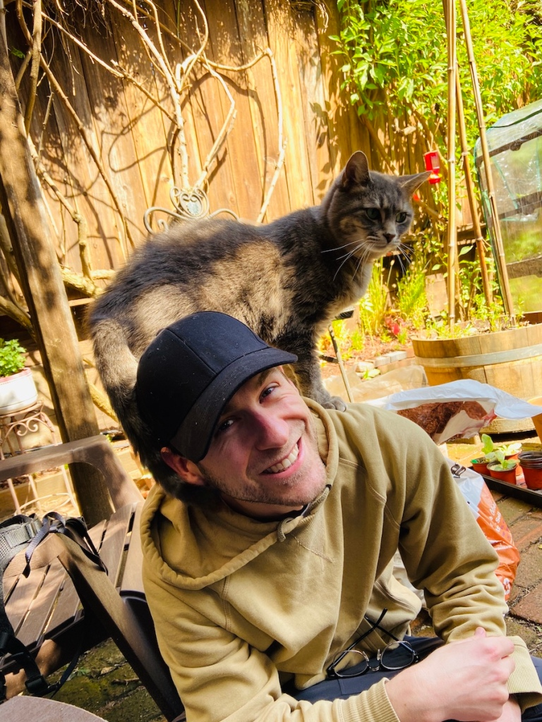 Cat on Joe's shoulders