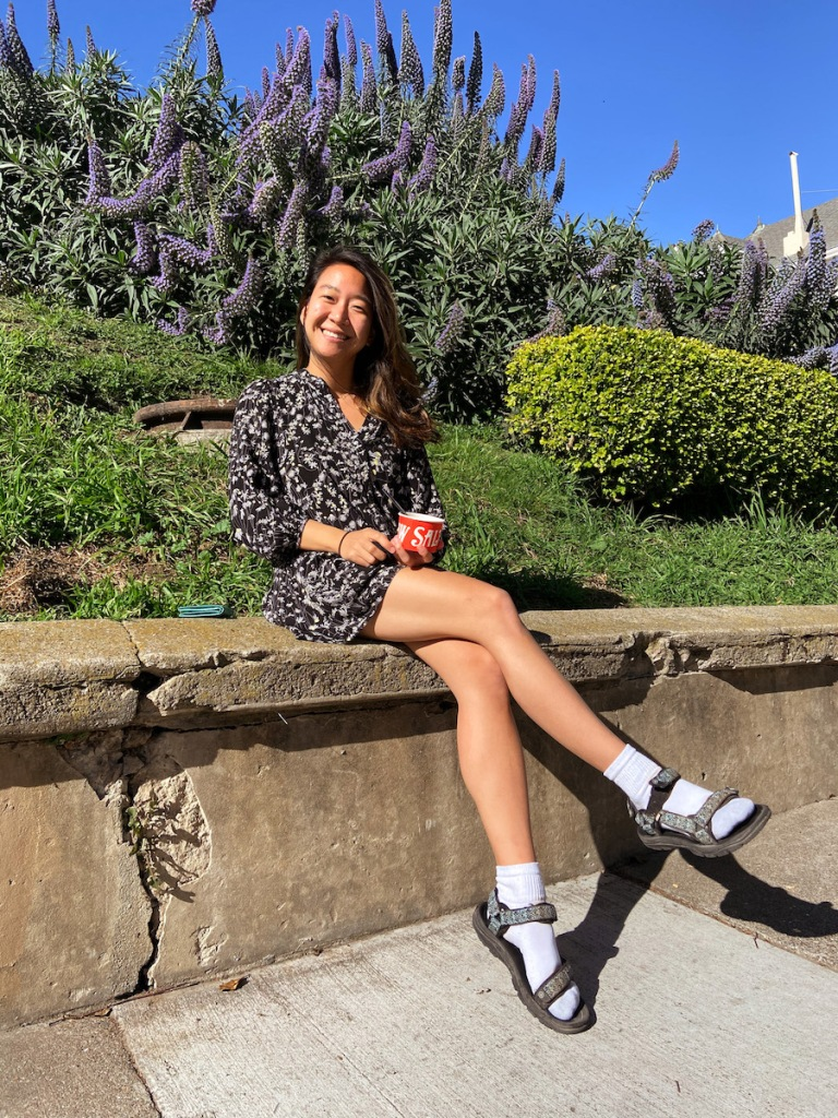 Spring time in SF - posing in front of Alta Plaza park