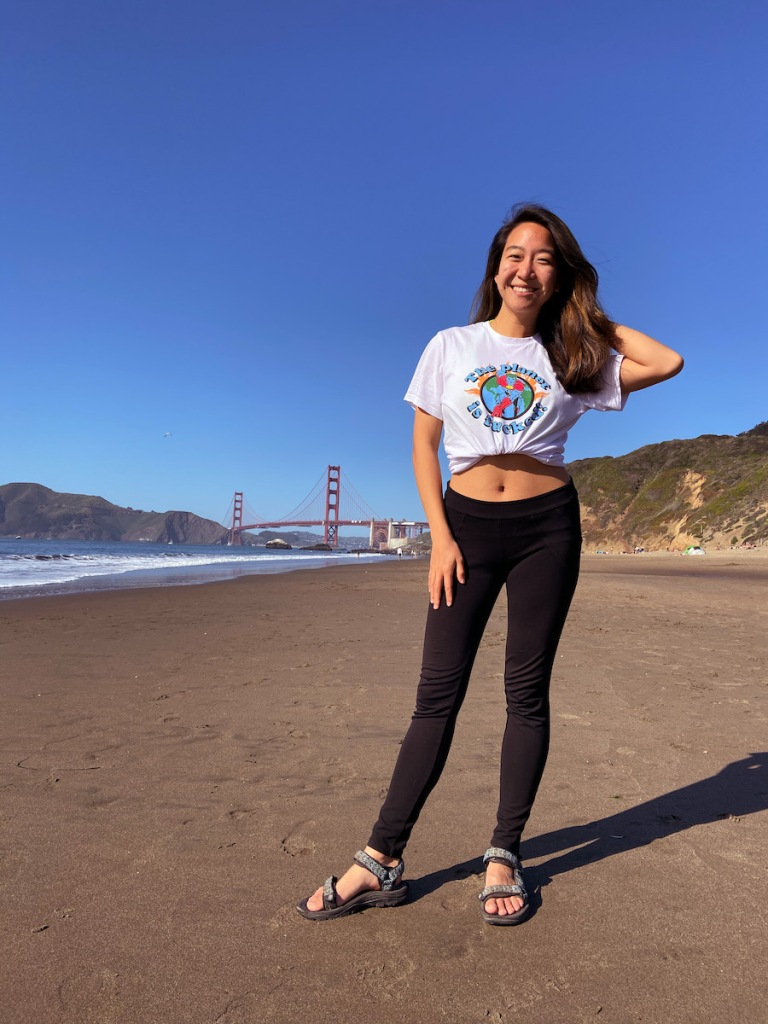 Hanging out on Baker Beach SF with view of Golden Gate bridge