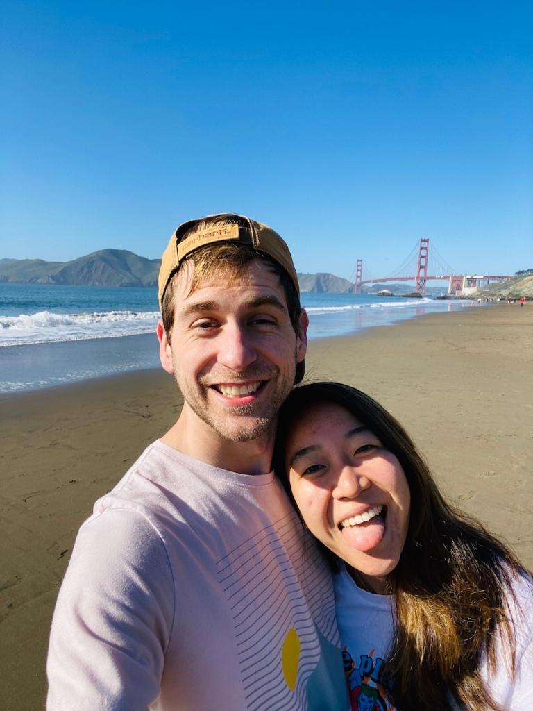 Couple selfie on beach