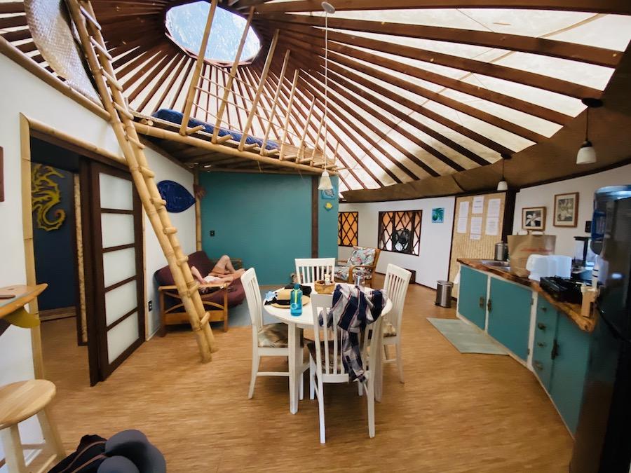 Inside bamboo yurt