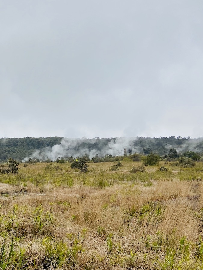 Steam vents at active volcano