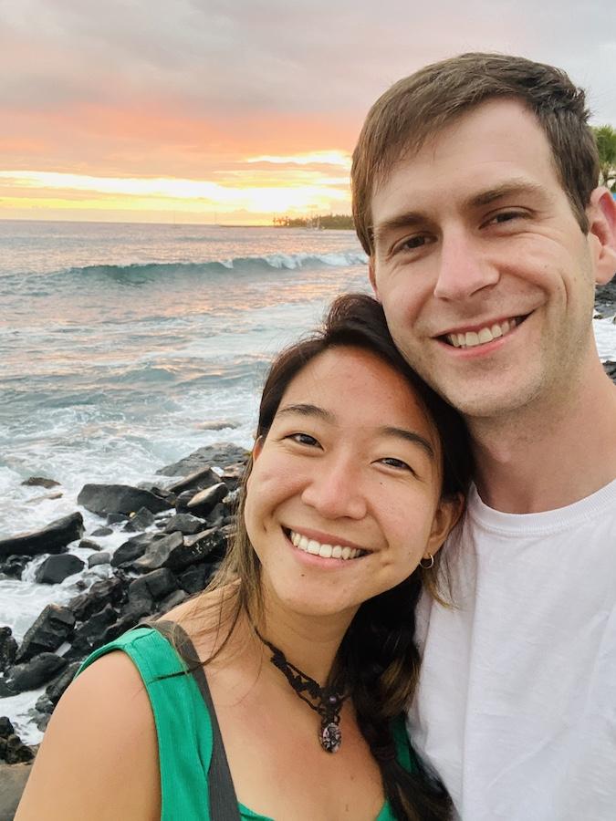 Couple selfie with beach sunset on Big Island