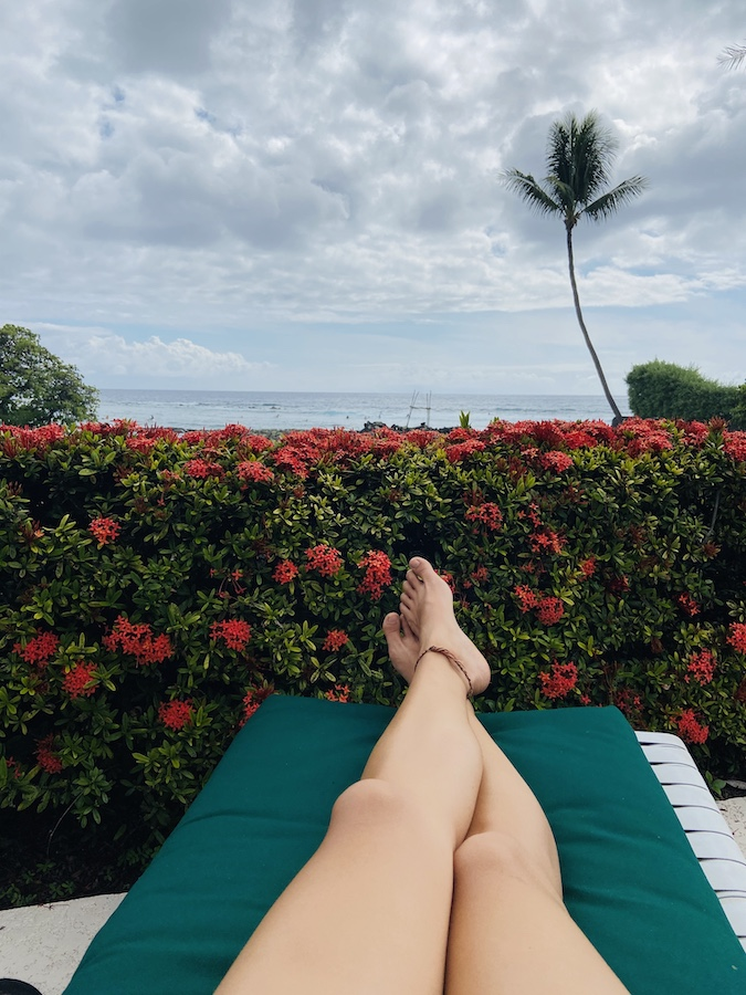 Relaxing by the pool in Hawaii
