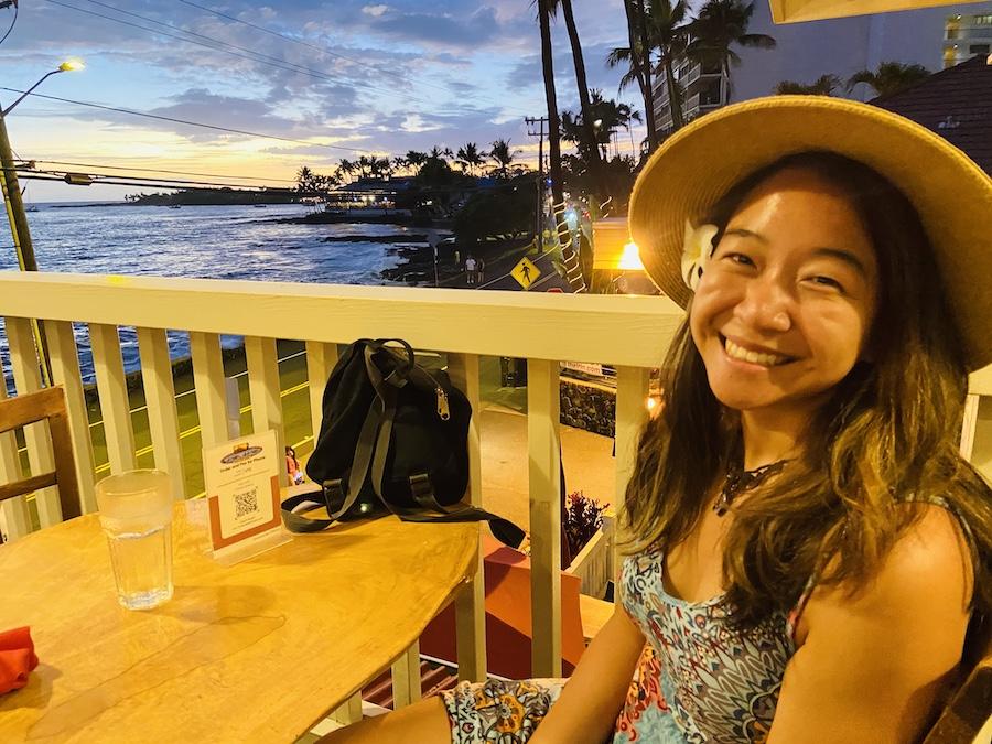 Dinner watching sunset in Hawaii