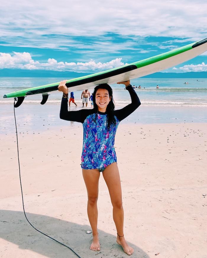 Surfboard on head