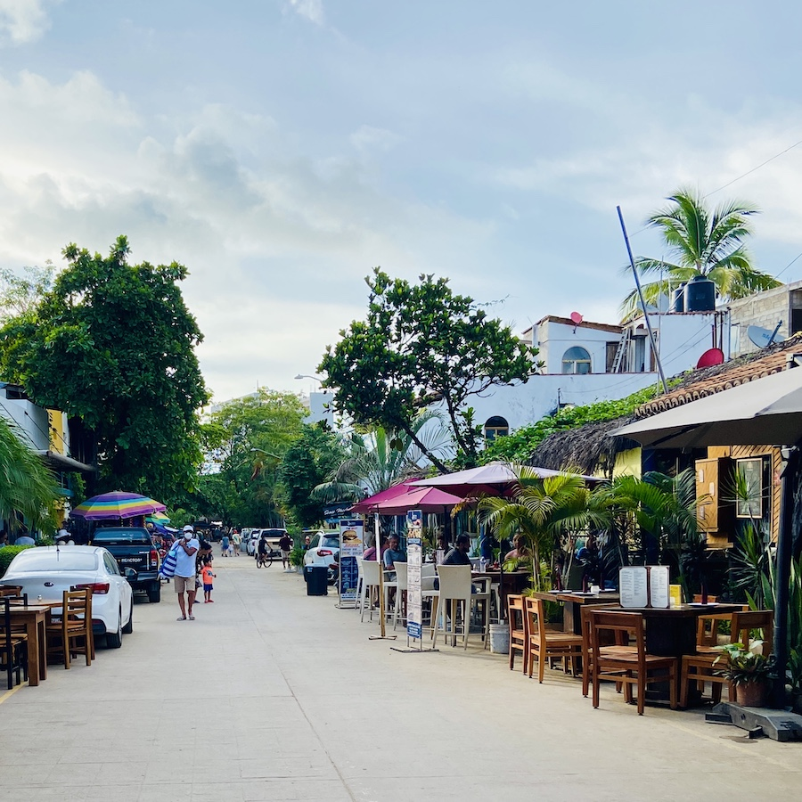 Row of restaurants in San Pancho