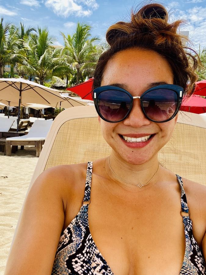 Selfie on beach chair on San Pancho beach
