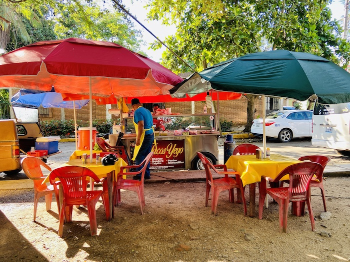 Taco stand in community park in San Pancho