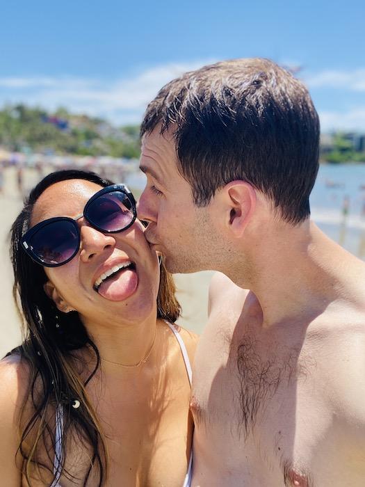 Couple kissing on cheek