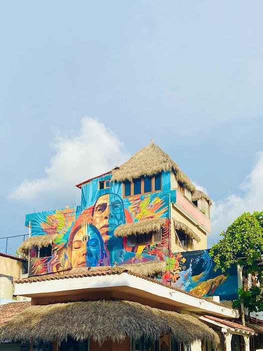 Colorful art on building in Sayulita
