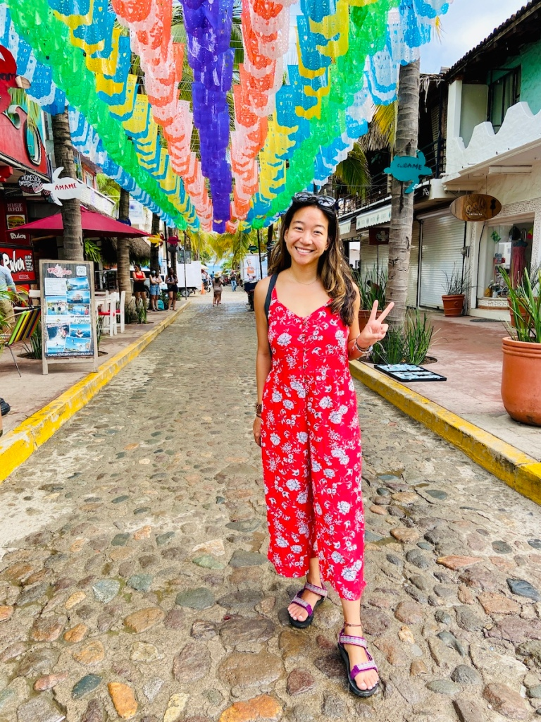 Streets of Sayulita with colorful flags