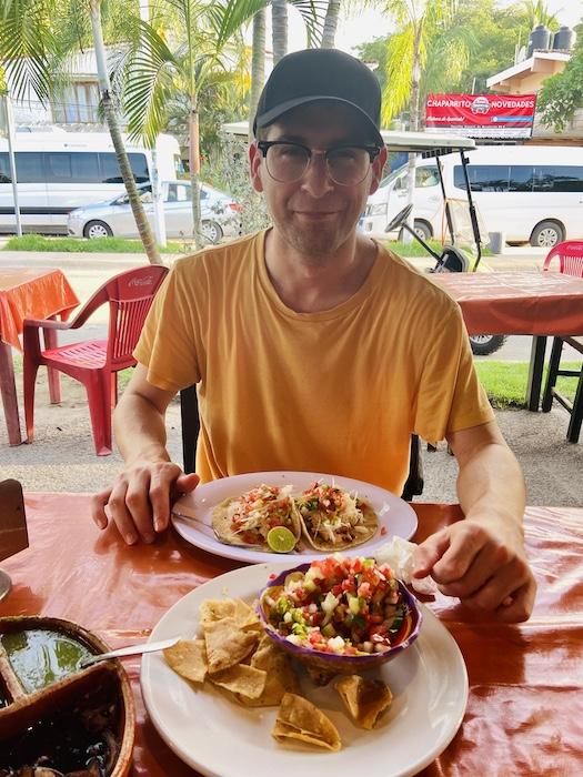 Eating at local restaurant in Sayulita