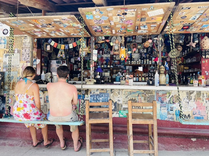 Local bar with swings in Sayulita