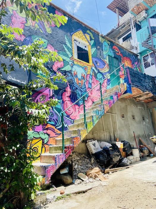 Colorful art mural in Sayulita