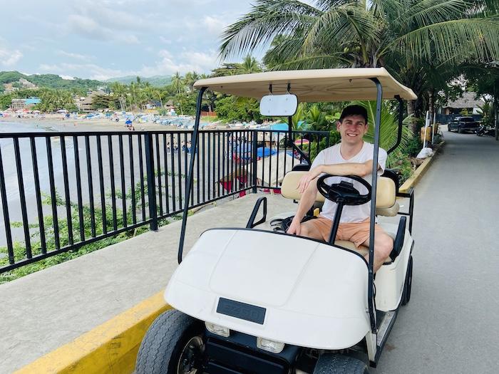 Driving golf cart in Sayulita