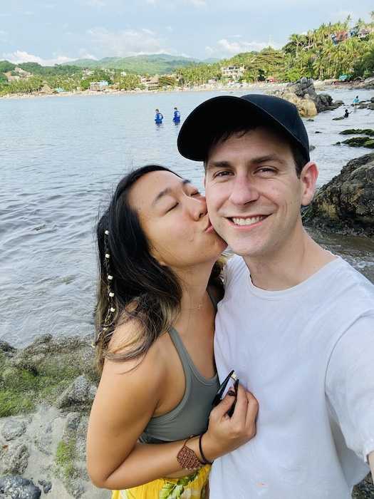 Kiss on the cheek at rocky cove