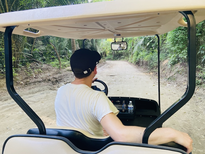 driving golf cart in jungle