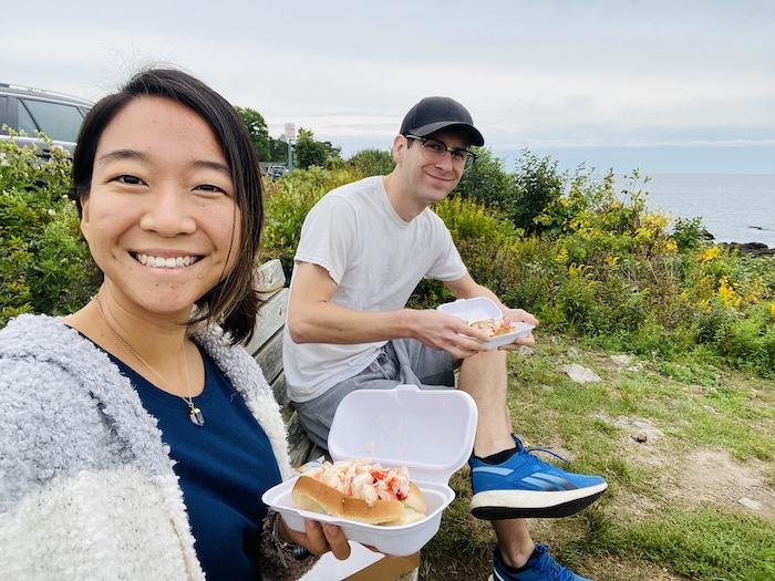 Eating lobster rolls along the coast