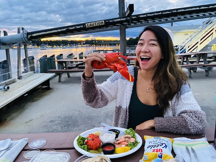 Eating lobster in Young's Lobster Pound