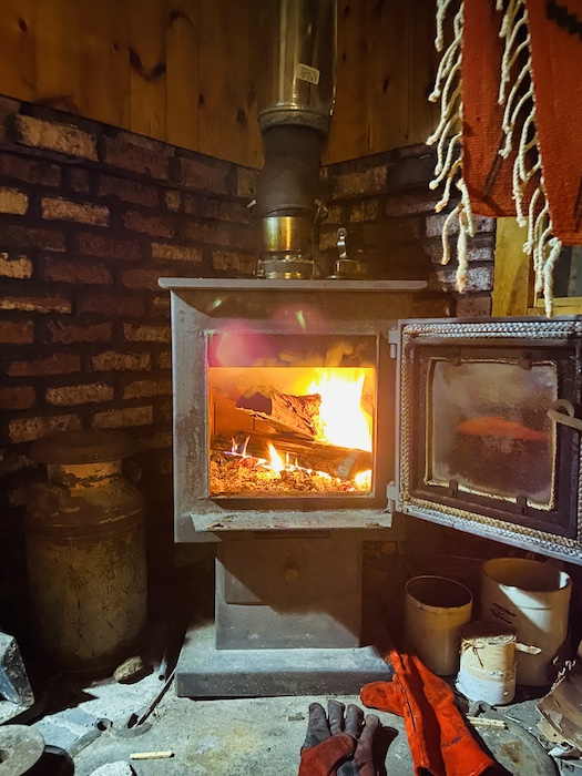 Wood fire in cabin