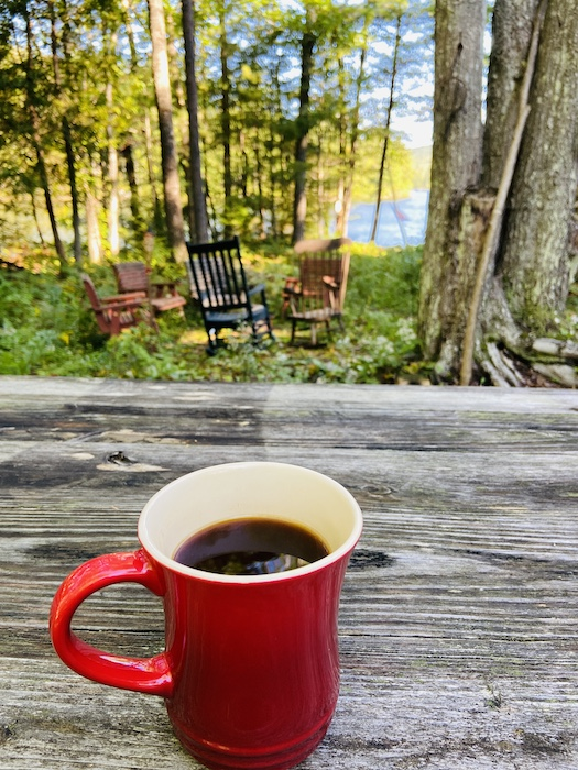 Coffee outside the cabin