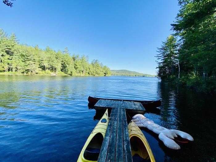Lake with kayaks