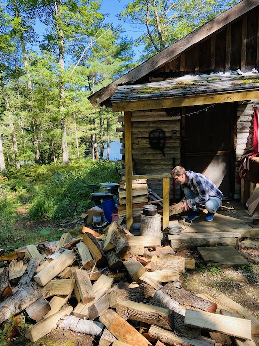 Chores outside the cabin