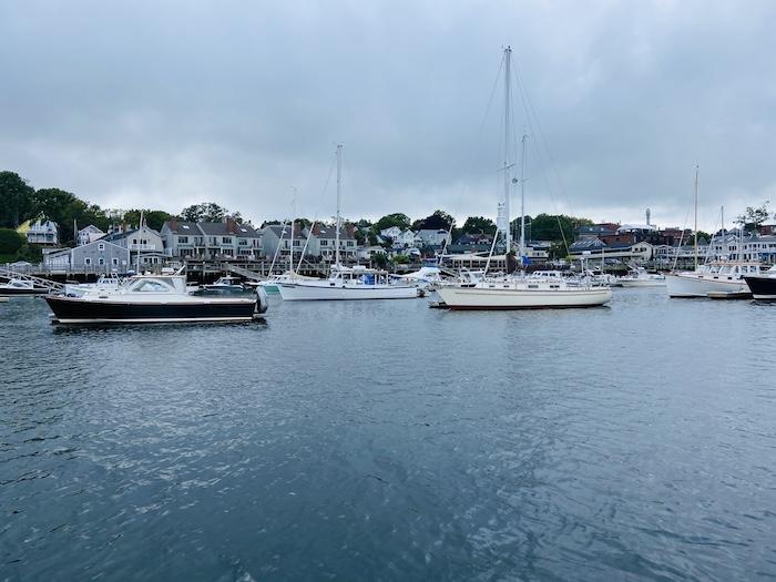 Camden harbor with boats