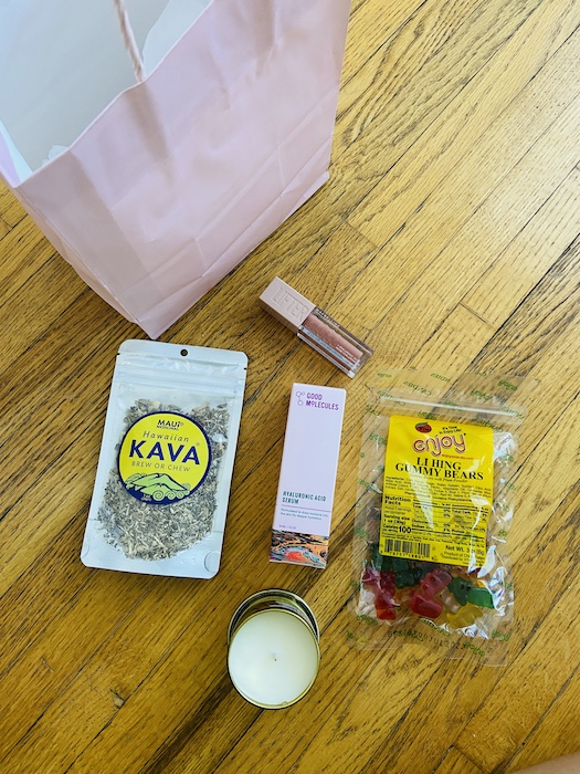 Gift including kava, gummy bears, and make up
